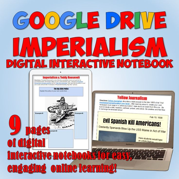 Awesome set of 9 fully-editable digital  Interactive Notebook pages on American Imperialism for Google Drive!