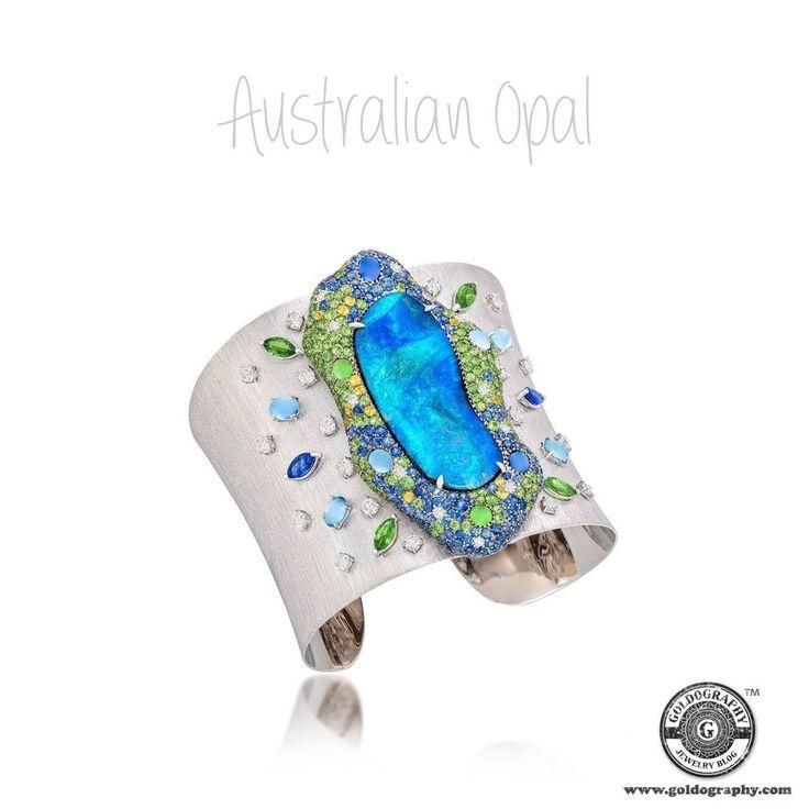 Australian Opal #MargotMckinney #18K #WhiteGold #Bracelet #Opal #Sapphires #Tsavorite #Diamonds #Aquamarine #Gemstones #Fashion #Fashionista #Jewels #JewelryAddict #JewelryLover #Jewelry #Jewellery
