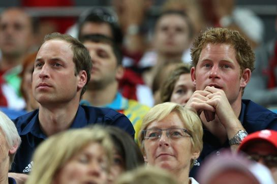 31 July 2012: Princes William & Harry were as thrilled as Team GB athletes when practically faultless performances propelled them to an Olympic silver medal. However, delight turned to disbelief in just a matter of minutes as the gymnastics competition continued as a rollercoaster ride for spectators.   The podium celebration, during which the athletes blew kisses to supporters, was interrupted by the news that there had been a mistake with the score; Team GB were instead in line for bronze.