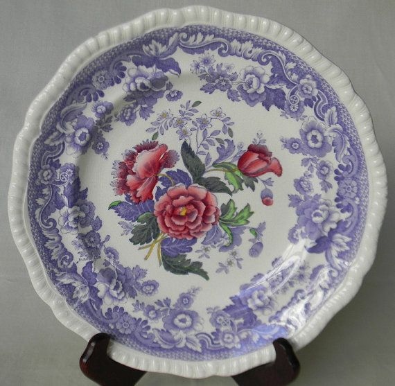 Spode Mayflower English Purple Lilac Tranferware Plate with Hand Painted Cabbage Roses by EnglishTransferware, $39.99
