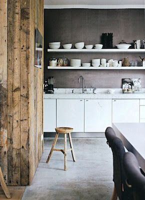 //: Kitchens Interiors, Kitchens Design, Open Shelves, Grey Wall, Old Wood, Concrete Floors, Wood Wall, Dark Wall, White Kitchens