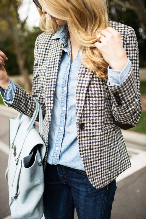 Check Classic Blazer Chambray Button-down Fall Inspo by Ivory Lane