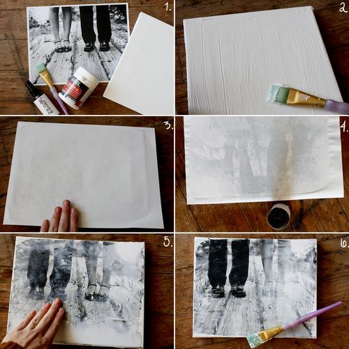 How to transfer a photocopy picture onto canvas. Neat idea! I'm going to do this with 4 photos of my baby for his nursery!