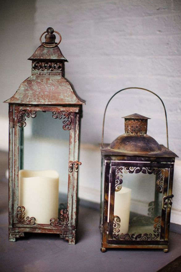 Old lanterns. Check out flea markets and get mismatched ones for your centerpieces. Fun activity to do with your bridesmaids.