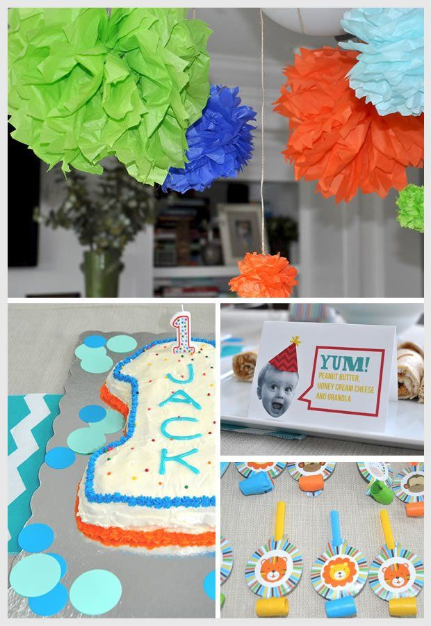 Great orange and blue theme ideas – Baby Boy First Birthday Party