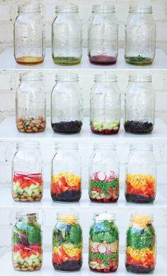 Salada no pote de vidro Mais