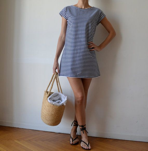 Nautical sailor stripe t shirt dress tunic. Loose fit dress. Blue and white. Cap sleeve. Made to Order.