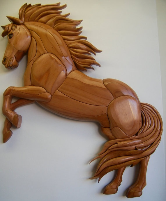 rearing horse intarsia