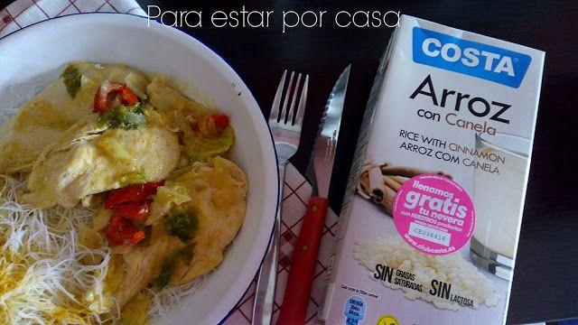 Para estar por casa: Pechugas de pollo en salsa de leche de arroz, verduras y curry #pechugas #pollo #fideos #arroz #leche #canela #verduras #curry #singluten #sin #gluten #sinlactosa #lactosa #huevo