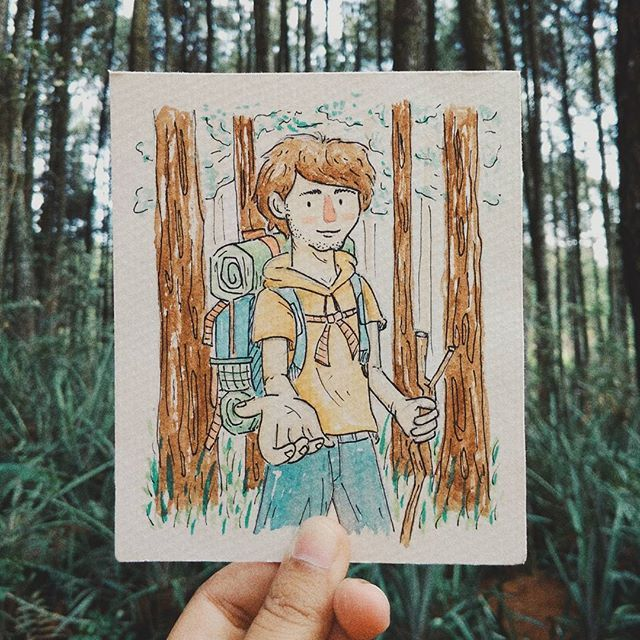 Inktober #07 Wishes  She (my dearest friend) was walking trough the pine forest, she keep thinking it will be nice if her favourite person were here and spending the moment with her.. But could it be possible?  And her name is...... . . . . . . . . . . . . .  #inktober #inktober2017 #aquarelle #watercolor #pinetree #forest #wish #imaginary #illustration #character #aquarelle #travel #carrier #brush #hoodie #hiking #mount #jogja #hutanpinus #asri #belajarbahasainggris