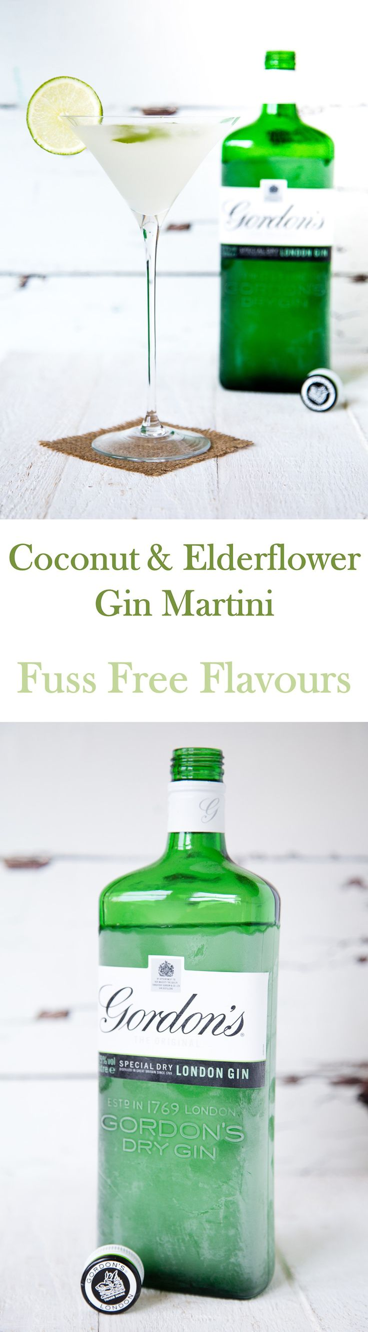 An elegant refreshing gin martini with classic English elderflower and a tropical coconut twist.  Perfect for all seasons!