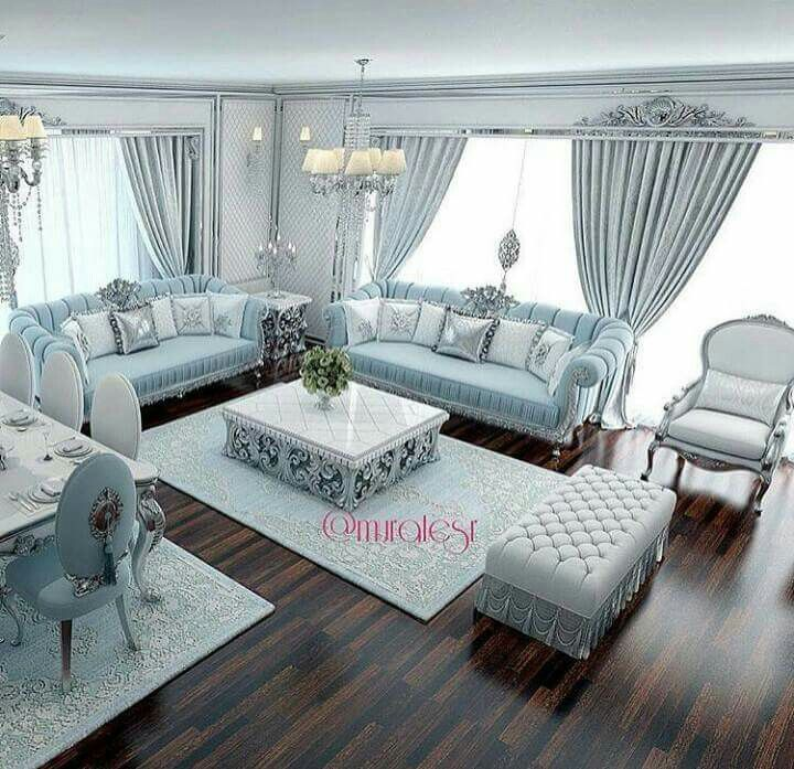 Luxury Interior Decor Design Family Room Jeddah Doha Living Blue Colors Moscow