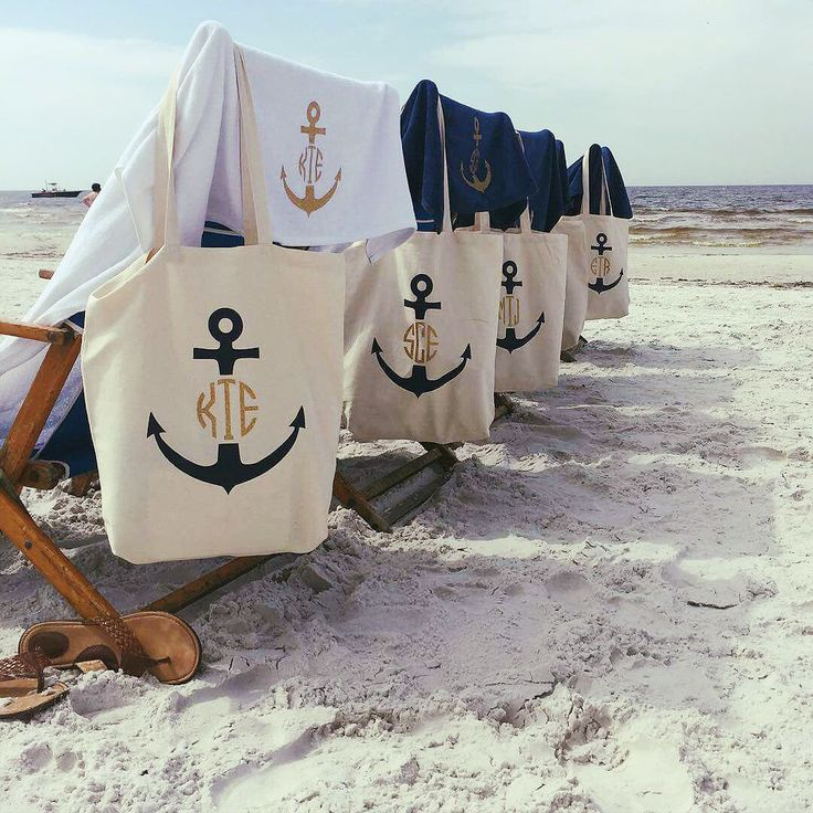 Last Sail before the Veil Anchor Monogram Totes