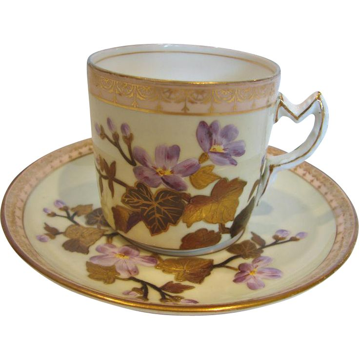 English Exceptional Cup Saucer Raised Gold Leaves Violets c 1870 - 1880