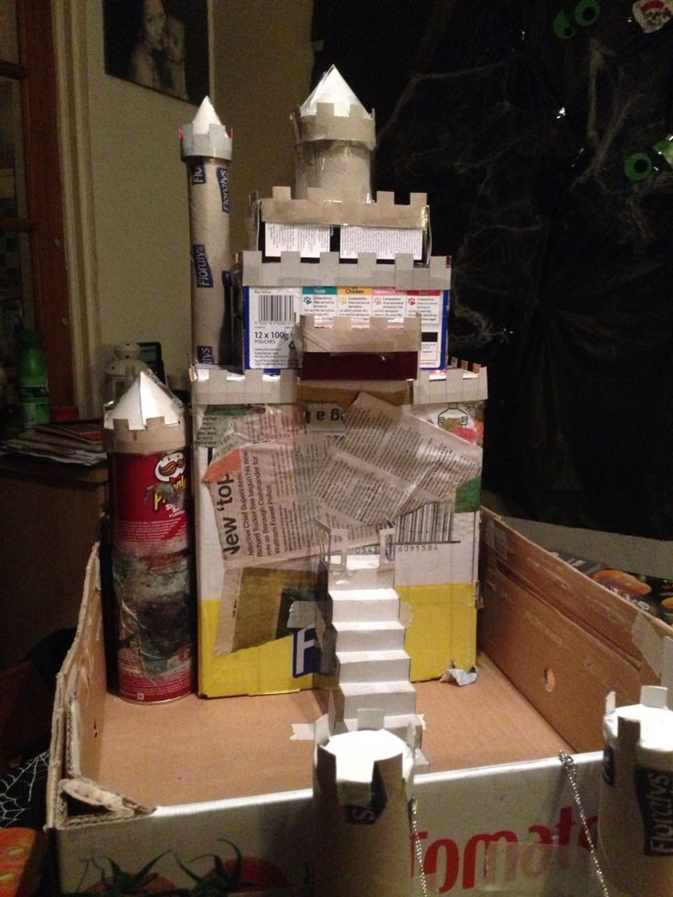First get boxes and get together the shape of our castle