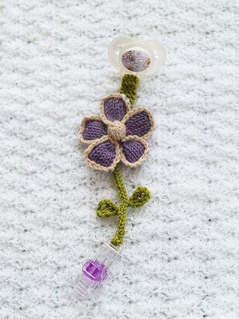 Ravelry: Pacifier Clips Flower FREE knitting pattern by Susan B. Anderson