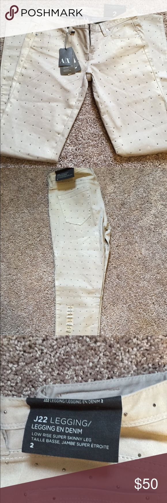 Armani Exchange legging studded denim NWT SZ 2 Armani Exchange legging studded denim in tan sz 2. Skinny fit super cute and brand new with tags Armani Exchange Jeans Skinny