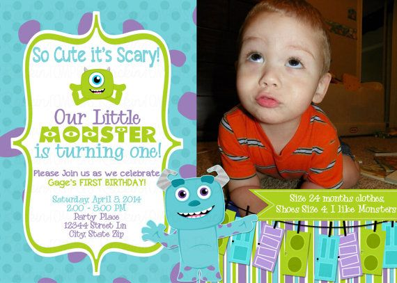 Monsters Inc Birthday Invite by RockinRompers on Etsy, $12.00 My Friend AMBER is an AMAZING graphic designer!! She will do all of ours for wedding festivities and future events!