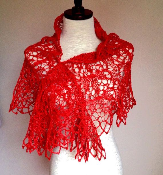 Red linen wrap i lace lotus pattern by AnneliT on Etsy, kr1100.00