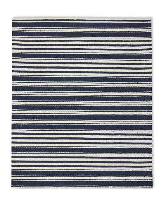 Riviera Stripe Indoor/Outdoor Rug, 9' X 12', Dress Blue/Egret