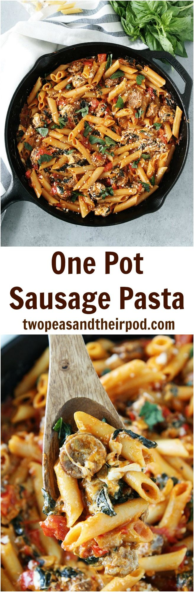 One Pot Sausage Pasta Recipe on twopeasandtheirpod.com You only need one pan and 30 minutes to make this delicious sausage pasta dish for dinner! It is a family favorite!