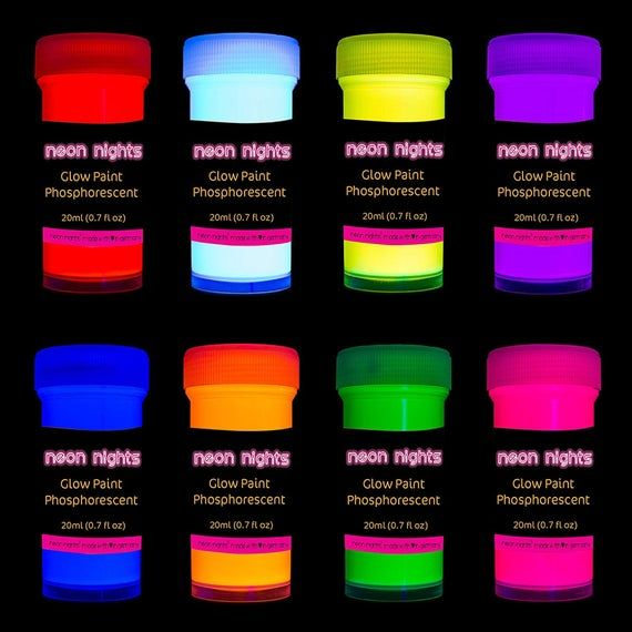 Check Out This Item In My Etsy Shop Https Www Etsy Com Listing 895624218 Acrylic Paint Glow In The Dark Neon Neon Nights Luminous Paint Acrylic Paint Set