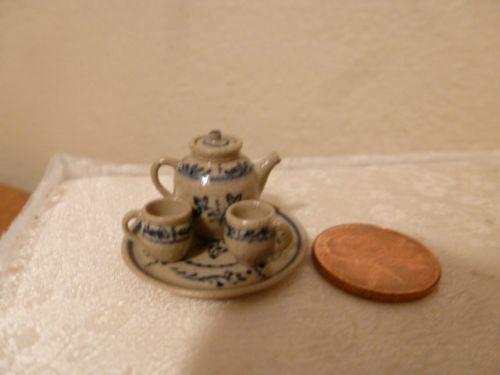 Miniature Pottery Tea Set by Jane Graber Platter Tea Pot and Cups Signed