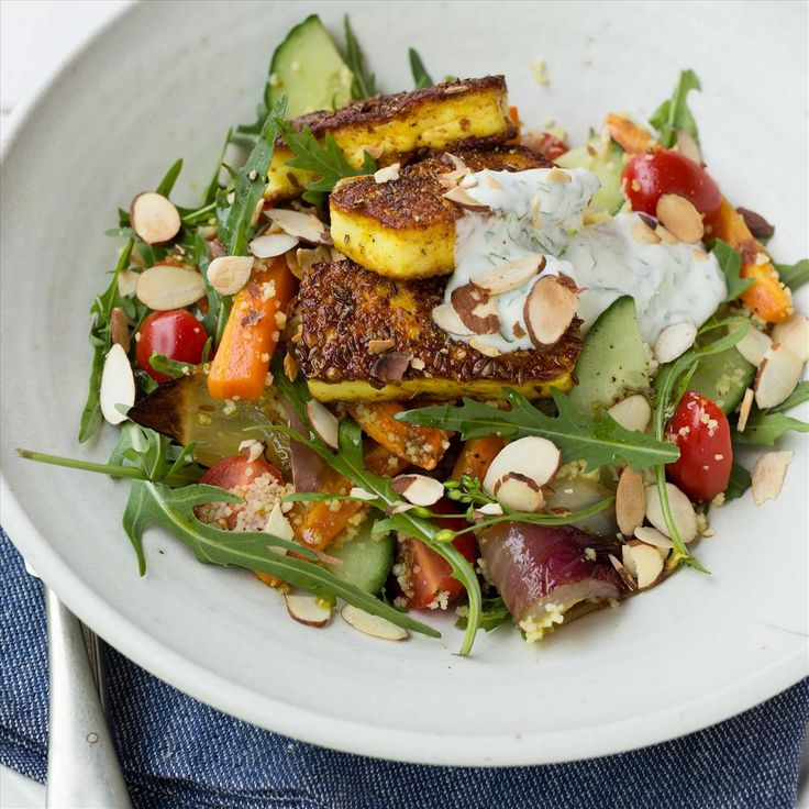 Indian-Spiced Haloumi with Couscous Salad and Lemon Coriander Yoghurt