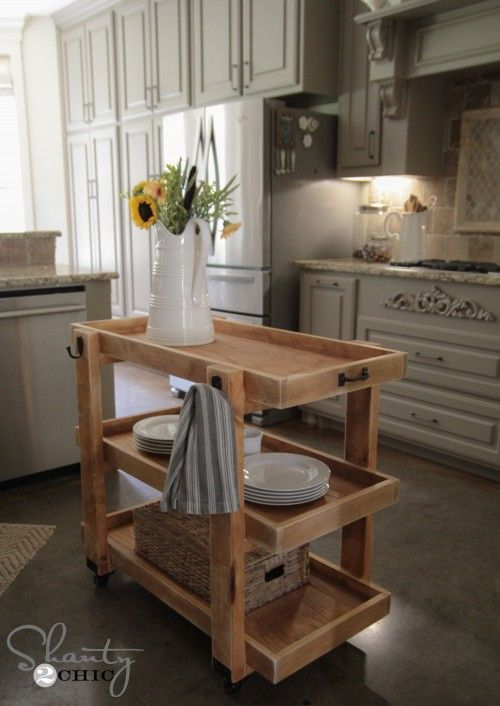 LOVE this DIY Rolling Cart Island! And you can learn how to build it at Home Depot! www.shanty-2-chic.com #buildlikeagirl #sponsored