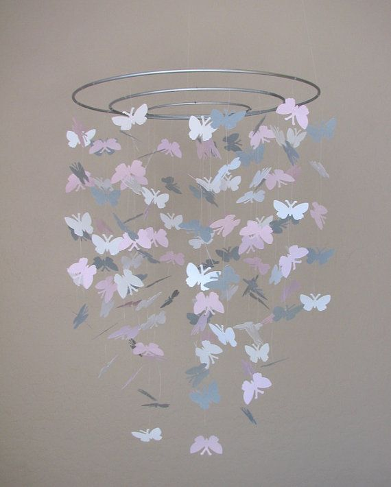 Pink and gray butterfly mobile