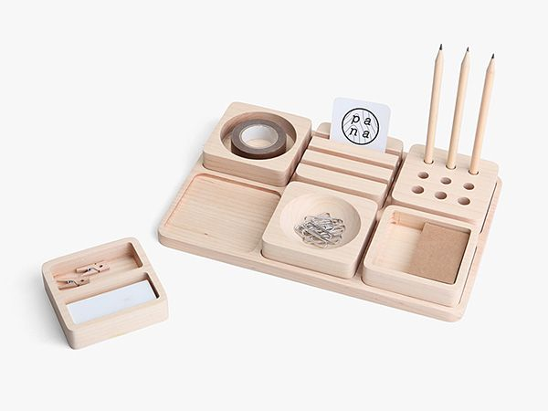 Taking inspiration from the divider concept in a bento box, Tofu Stationery Set by Pana Objects,...