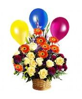 It is the best way to send get well soon message through a combo of three air-filled balloons and bouquet of mixed flowers contained in designer basket from flowerzNCakez.