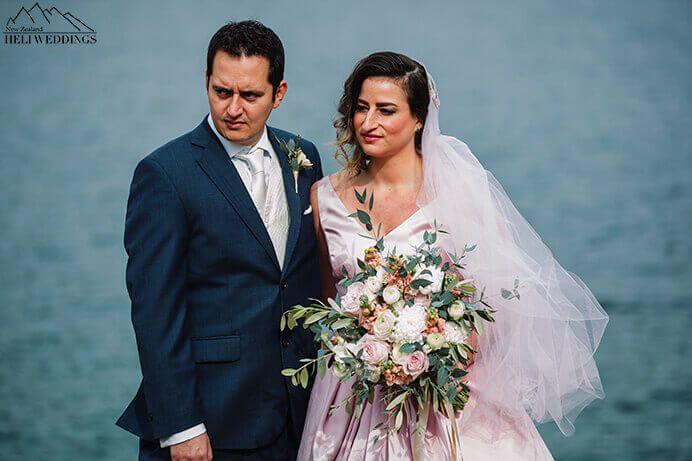 Moke Lake Wedding Ceremony. Bride & Groom in Queenstown New Zealand