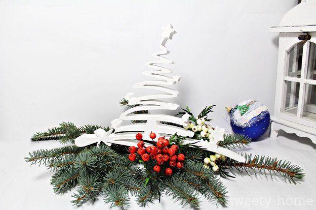 DUŻA DREWNIANA CHOINKA ozdoba świąteczna gwiazdka - sweety-home - Dekoracje: drewno