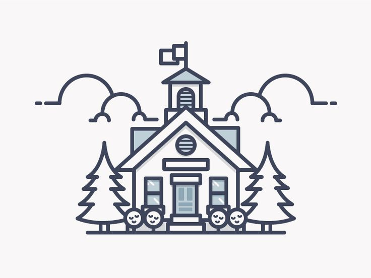 School house illustration. #graphicart #minimaldrawings