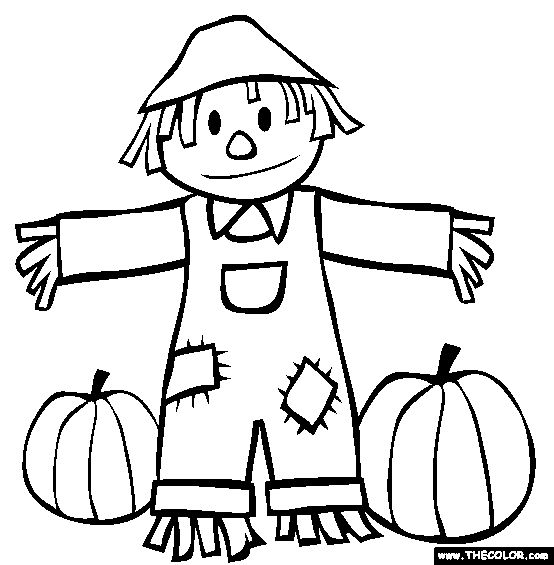 fall scarecrow and pumpkins coloring page - Pre School Coloring Pages
