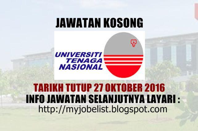 Jawatan Kosong di Universiti Tenaga Nasional (UNITEN) - 27 Oktober 2016  Jawatan kosong terkini di Universiti Tenaga Nasional (UNITEN) Oktober 2016. Permohonan adalah dipelawa daripada warganegara Malaysia yang berkelayakan untuk mengisi kekosongan jawatan kosong terkini di Universiti Tenaga Nasional (UNITEN) sebagai :1. DIRECTOR (MARKETING AND CORPORATE COMMUNICATIONS DEPARTMENT)Tarikh tutup permohonan 27 Oktober 2016 Lokasi : Selangor Sektor : Berkanun  Interested applicants are invited to…