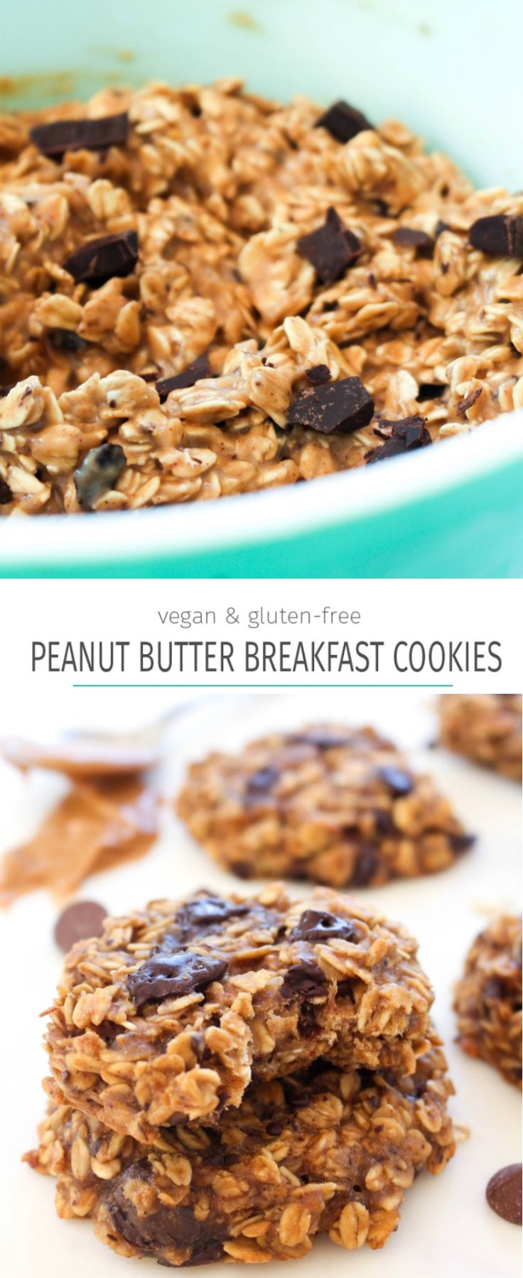 Peanut butter banana breakfast cookies recipe. A great healthy breakfast or snack that tastes like dessert!