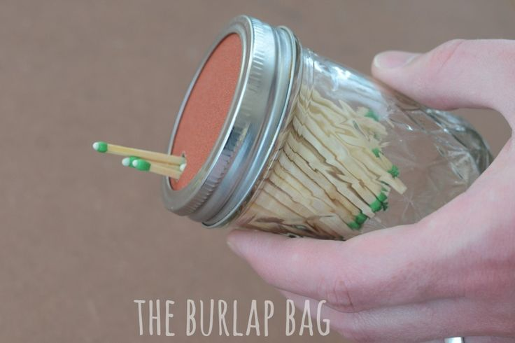 Keep matches in a mason jar - with a strikeable sandpaper lid! - The Burlap Bag
