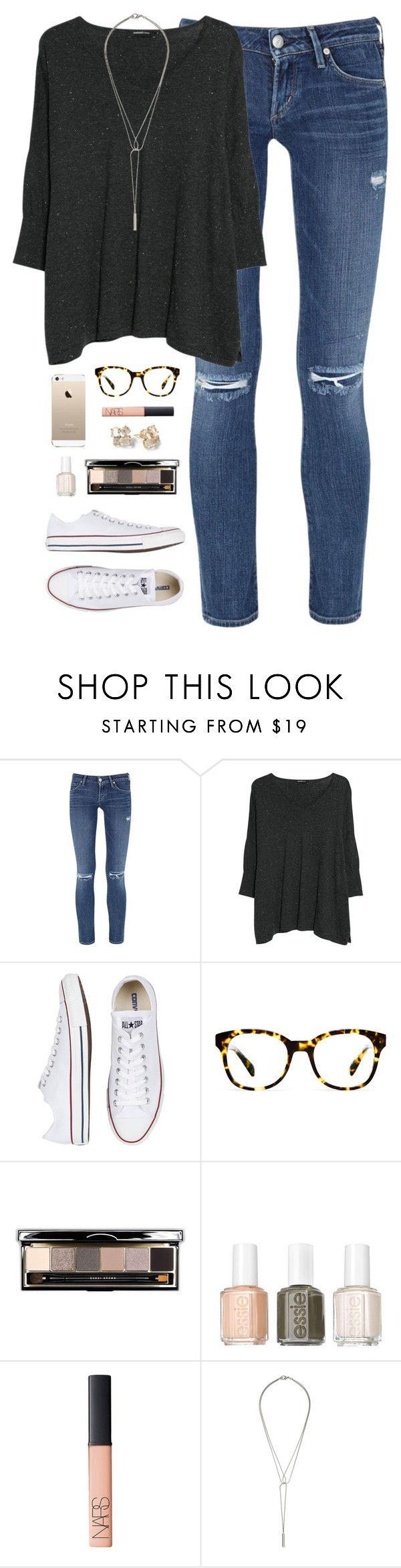 """""""ootd 1.13.15"""" by classically-preppy ❤ liked on Polyvore featuring Citizens of Humanity, MANGO, Converse, Warby Parker, Bobbi Brown Cosmetics, Essie, NARS Cosmetics, Kate Spade and CO"""