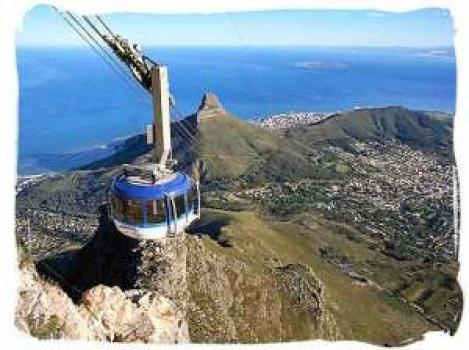 The rotating cable car up to the top of Table Mountain.