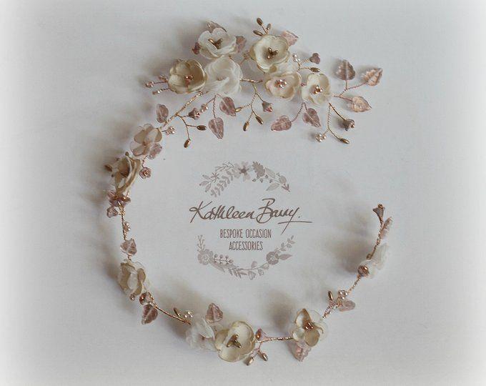 Rose gold bride hair crown headband crown handmade floral fabric wedding hair accessory ivory STYLE: Wendy