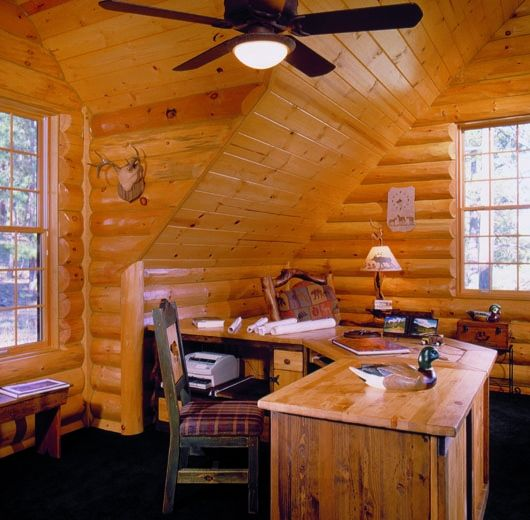 home office cabin. Find Inspiration In These Log Home Pictures Focusing On Sunrooms, Lofts And Office. Office Cabin A