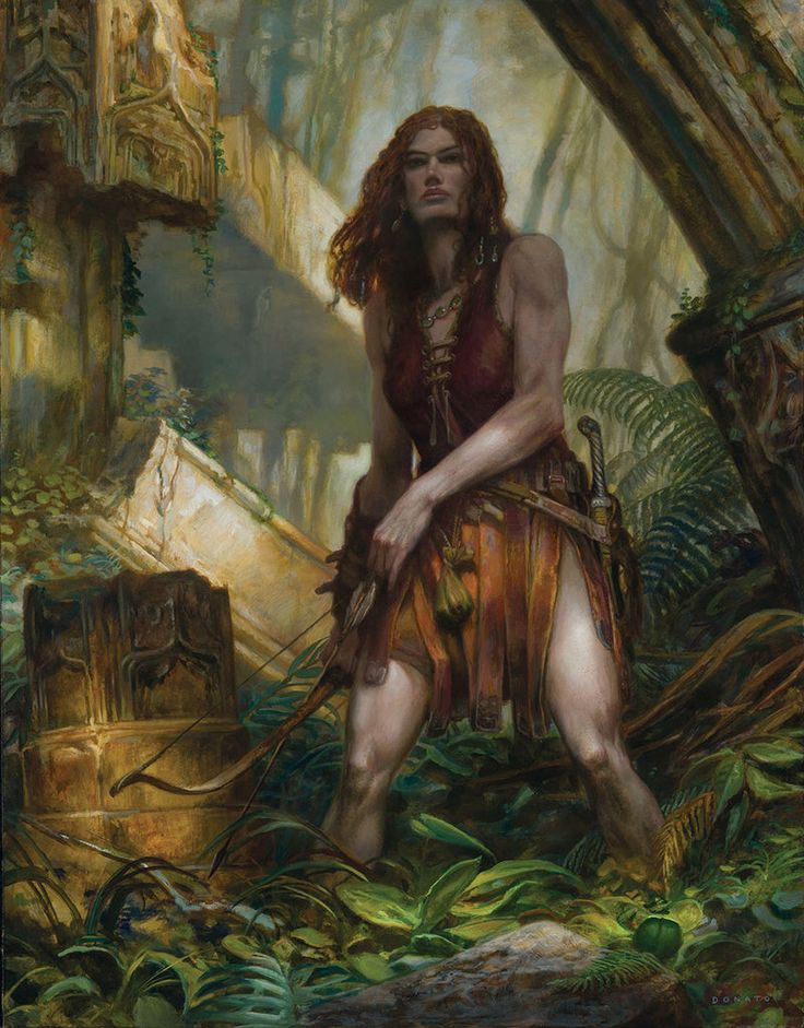 Red Sonya - Archer by DonatoArts female barbarian fighter ranger archer bow arrows swamp ruins armor clothes clothing fashion player character npc | Create your own roleplaying game material w/ RPG Bard: www.rpgbard.com | Writing inspiration for Dungeons and Dragons DND D&D Pathfinder PFRPG Warhammer 40k Star Wars Shadowrun Call of Cthulhu Lord of the Rings LoTR + d20 fantasy science fiction scifi horror design | Not Trusty Sword art: click artwork for source
