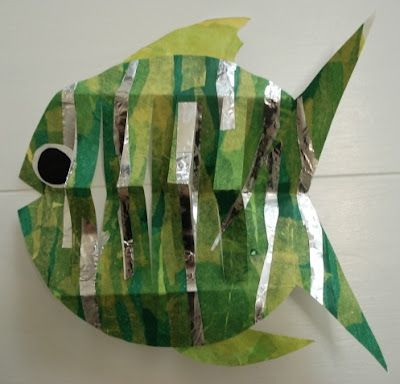3rd Grade, Collage Pop-Out Fish, tissue paper collage with strips of aluminum foil, 3-D paper technique