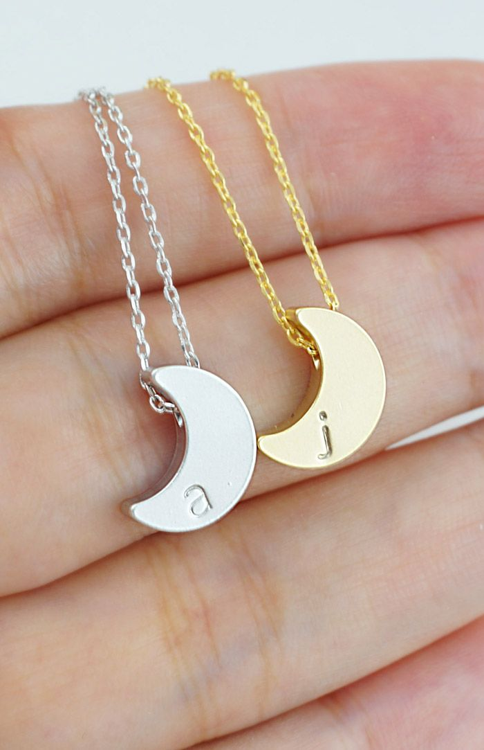 Personalized Crescent Moon Necklace from EarringsNation Christmas Gift idea