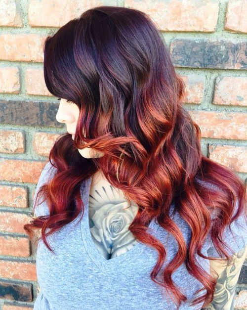 black+hair+with+burgundy+and+caramel+balayage