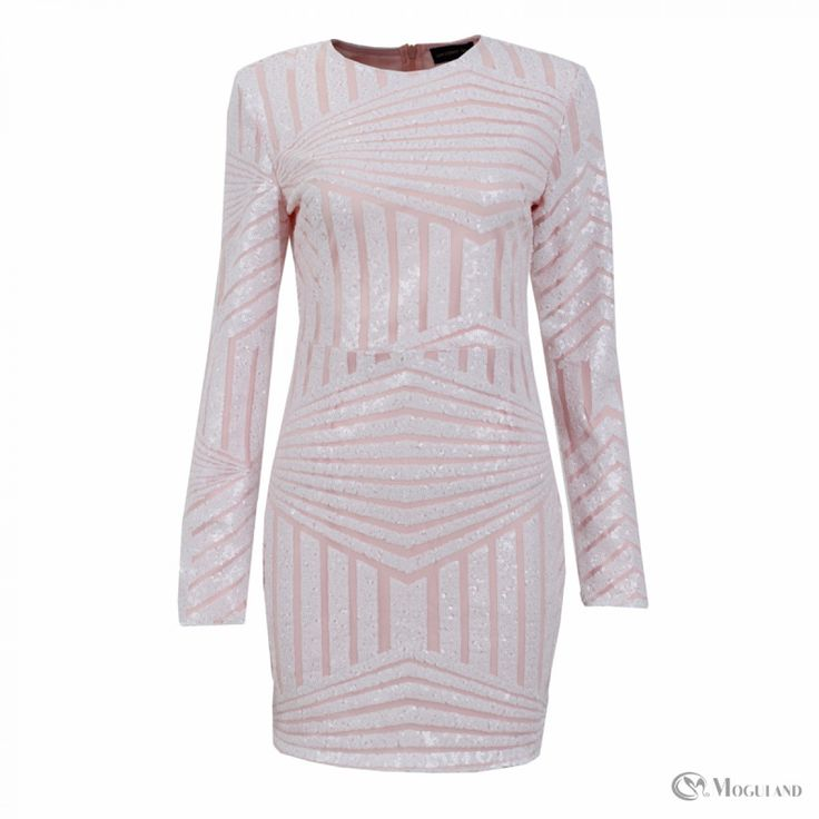 Ladies white and pink aztec sequin long sleeve dress wholesale - dresses | Moguland.com - Wholesale Women's Clothing