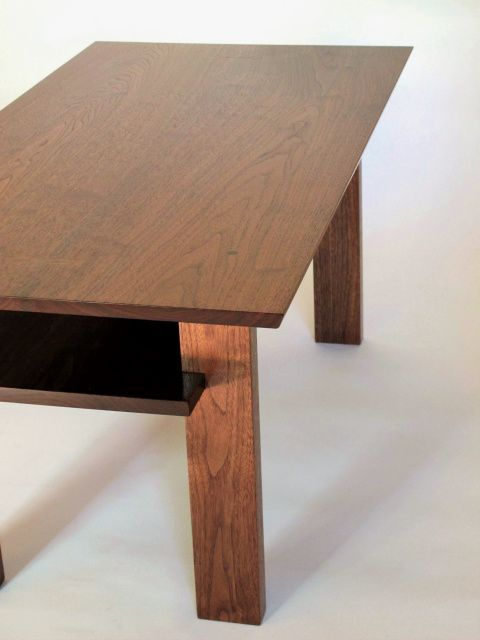 A Handmade Narrow Wood Coffee Table With Inset Shelf For Storing Remotes Magazineore