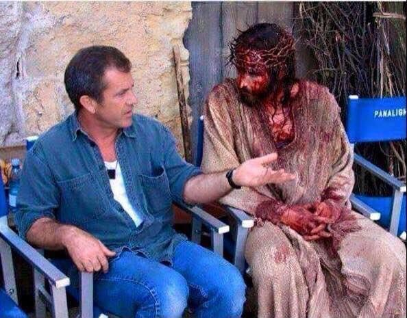 :: anybody else get chills when you look at this?! I know it's just a movie but.... WOW :: I just saw this picture on a friend's timeline and I had to share. This is Mel Gibson talking to the actor who played Jesus in the movie The Passion of the Christ. Mel Was the director of that movie. I'm sure he is giving him advice on what to do in a scene or something but it make me think something totally different. Just imagine sitting next to Jesus like this and talking to him about how hard your…